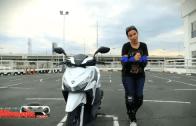 Angel rides a motorbike