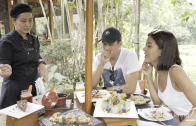 Bianca relaxes at The Farm at San Benito with husband JC
